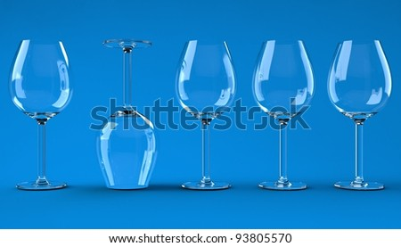 Wine glasses on the color background - stock photo