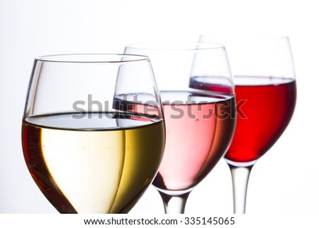 wine glasses on white background