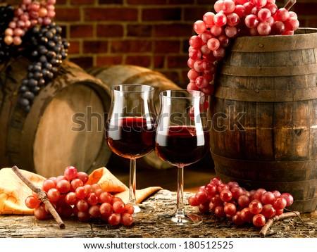wine glasses set in winery tasting - stock photo