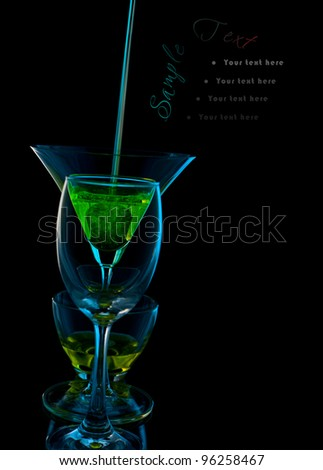 Wine glasses with place with additional text on black background - stock photo