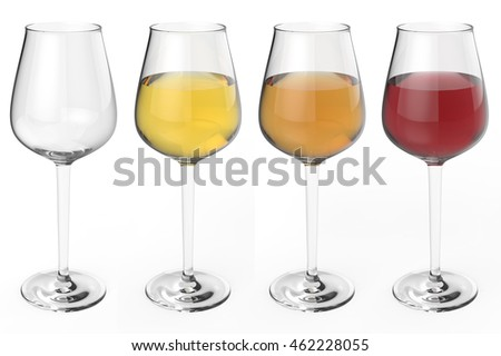 wine glasses with three different colors