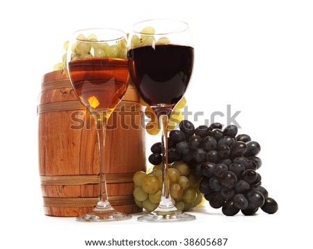 Wine glasses with white and red wine over the white background