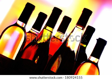 Wine Glassware Abstract background design made from  wine bottles  - stock photo