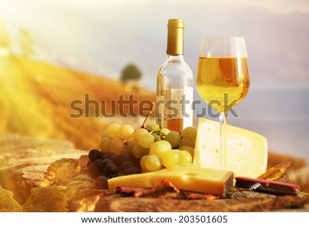 Wine, grapes and cheese against vineyards in Lavaux region, Switzerland, retro filter - stock photo
