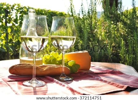 Wine, grapes and cheese. Lavaux region, Switzerland - stock photo