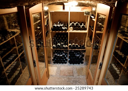 wine in a old cellar entry tavern french - stock photo