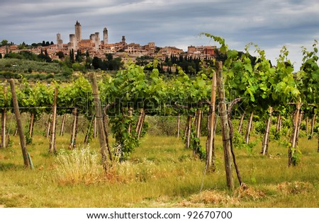 Wine in San Gimignano Medieval Village, Italy, Europe - stock photo