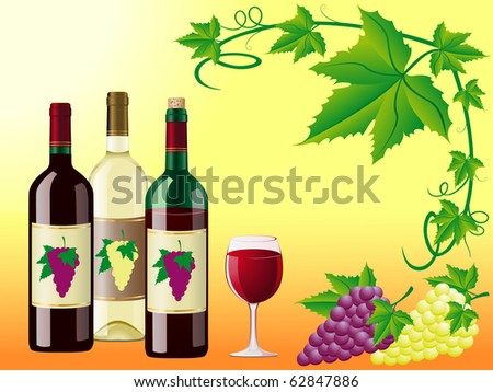 wine is red white with a grapes and decorative pattern of leaves illustration - stock photo