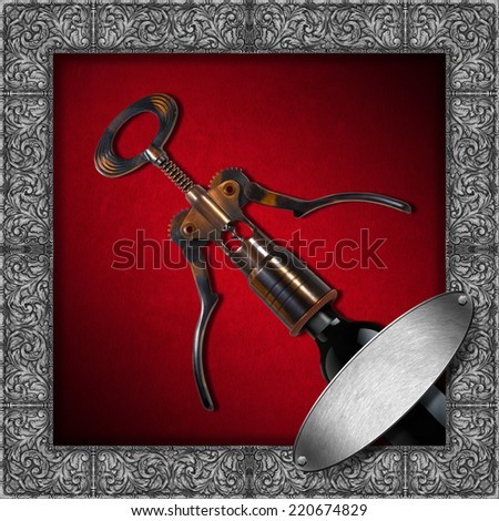 Wine List Design / Red velvet background with silver floral frame, empty metal label, old corkscrew with a bottle. Template for wine list or menu  - stock photo