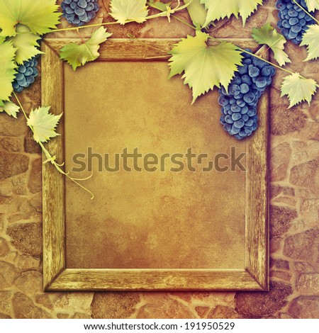 Wine list in old wooden frame on stone wall