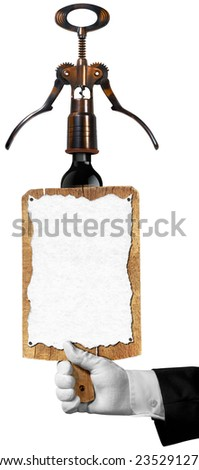 Wine List on Cutting Board / Hand of sommelier with white glove holding a old wooden cutting board with empty sheet of paper and old corkscrew with black wine bottle. Template for wine list or menu - stock photo
