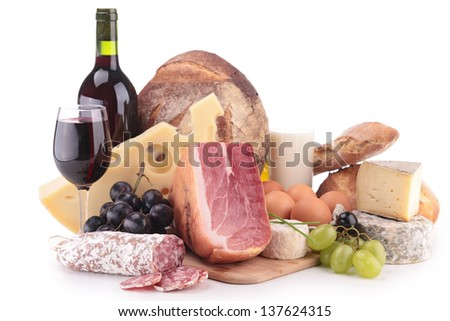 wine, meat and cheese