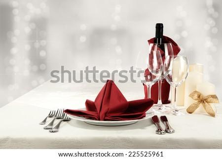 wine napkin and glasses  - stock photo
