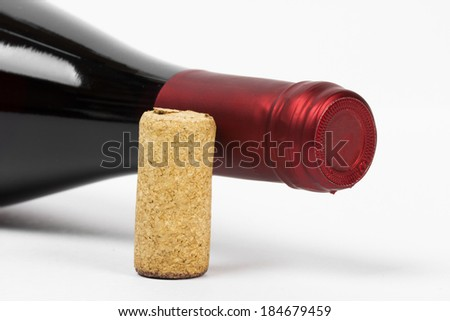 wine on the white background - stock photo