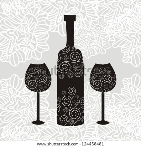 Wine pattern background illustration - stock photo