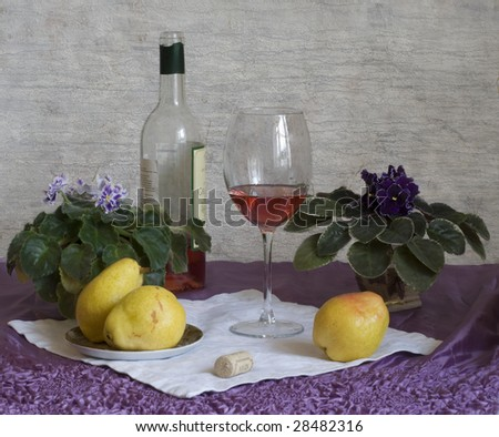 wine, pears and violets - stock photo