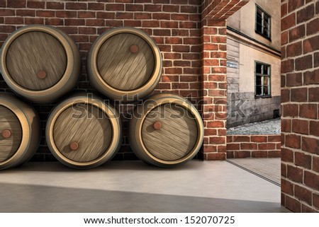 Wine Pipes pile on a cellar - stock photo