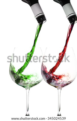 wine pour in christmas colours - stock photo