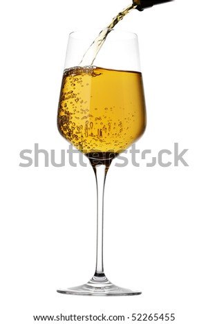 Wine pouring isolated on white background