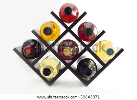 Wine rack close-up - stock photo