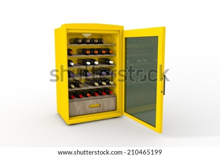 Wine refrigerator - stock photo