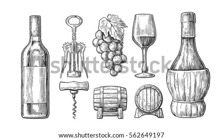 Wine Set Bottle Glass Corkscrew Barrel Stock Illustration 562649197