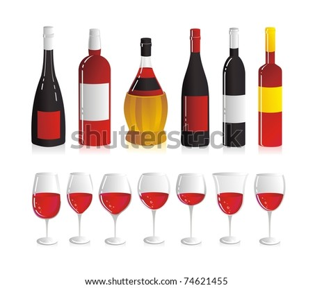 Wine set. Six wine bottles and seven glasses for red wine.