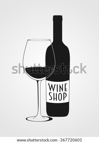 wine shop logotype including wine bottle, wine glass. - stock photo