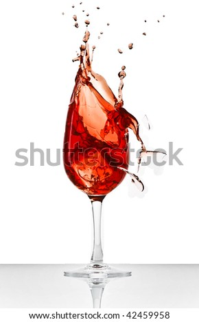 wine splash and broken glass - stock photo