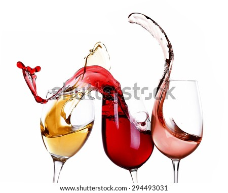 Wine splashes isolated on white - stock photo