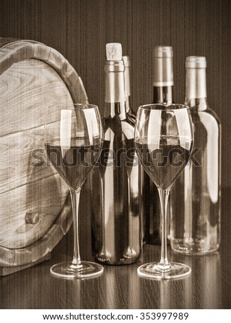 Wine still life with red wine by the glass and barrel. Old style. Sepia - stock photo