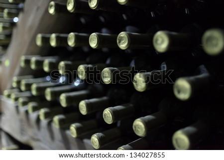 Wine store in cellar in Kakheti region of eastern Georgia - stock photo