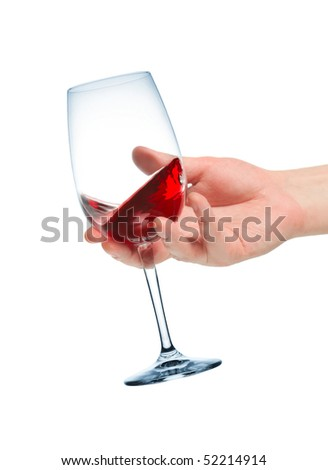 Wine tasting. A goblet of wine in hand. - stock photo