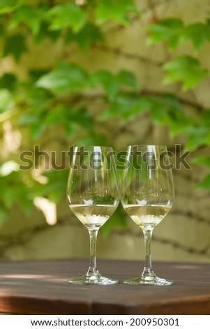 Wine tasting at Tokaj winery backyard, Hungary - stock photo