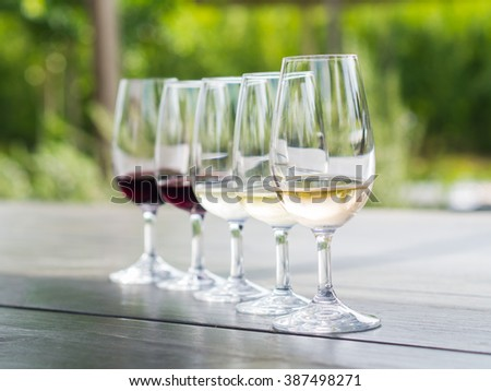 Wine tasting in Stellenbosch, South Africa. From the front: blanc de noir, chardonnay, sauvignon blanc, merlot, cabernet sauvignon. - stock photo