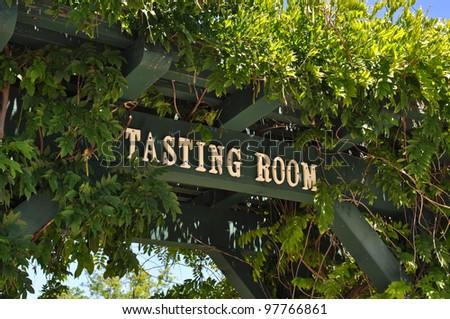 Wine Tasting Room Sign - stock photo