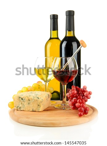 Wine, tasty blue cheese and grape, isolated on white - stock photo