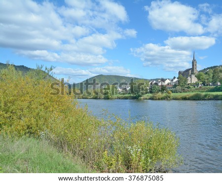 Wine Village of Dieblich at Mosel River in Mosel Valley,Rhineland-Palatinate,Germany - stock photo