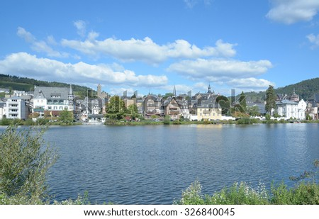 Wine Village of Traben-Trarbach at Mosel River,Mosel Valley,Rhineland-Palatinate,Germany - stock photo
