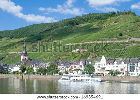Wine Village of Zell at Mosel River,Mosel Valley,Rhineland-Palatinate,Germany - stock photo