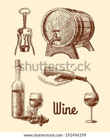 Wine vintage sketch decorative icons set of corkscrew barrel bottle isolated  illustration - stock photo