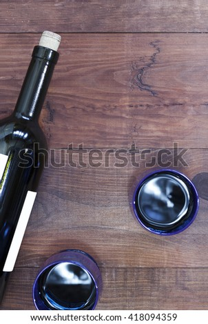 Wine. Wine by the glass. Wine in the bottle. The flat position. - stock photo