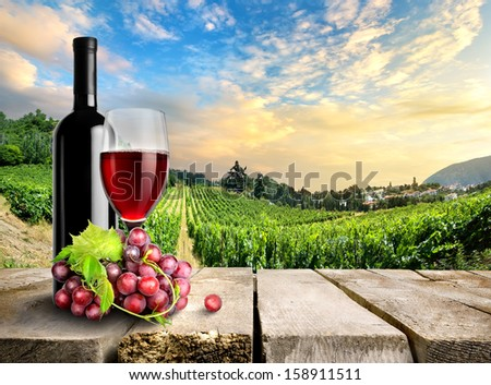 Wine with grape on a background of vineyard - stock photo