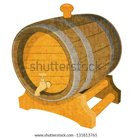 Wine Wooden Vintage Cask on White Background. JPEG version. - stock photo
