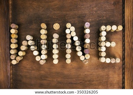 Wine written with corks - stock photo