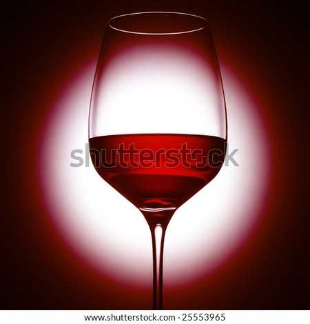 Wineglas on red - stock photo
