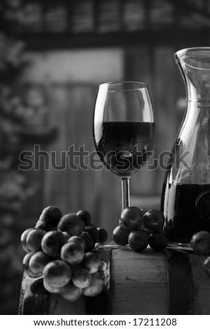 Wineglass and bottle wine - stock photo