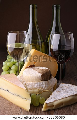 wineglass and cheese - stock photo