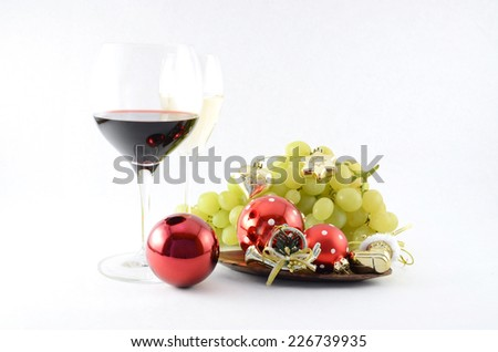 Wineglass and Christmas toys  - stock photo