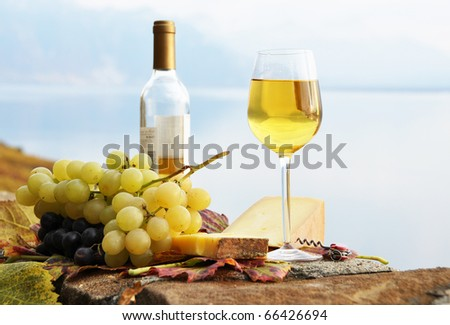 Wineglass, cheese and grapes on the terrace of vineyard in Lavaux region, Switzerland - stock photo